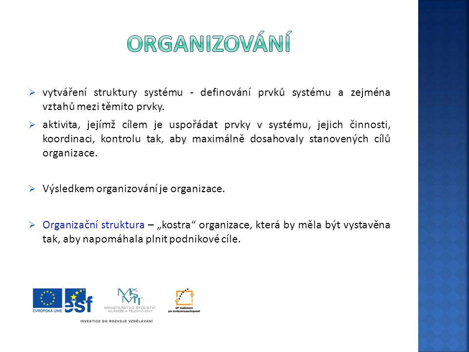  vytváření struktury systému - definování prvků systému a zejména vztahů mezi těmito prvky.  aktivita, jejímž cílem je uspořádat prvky v systému, je