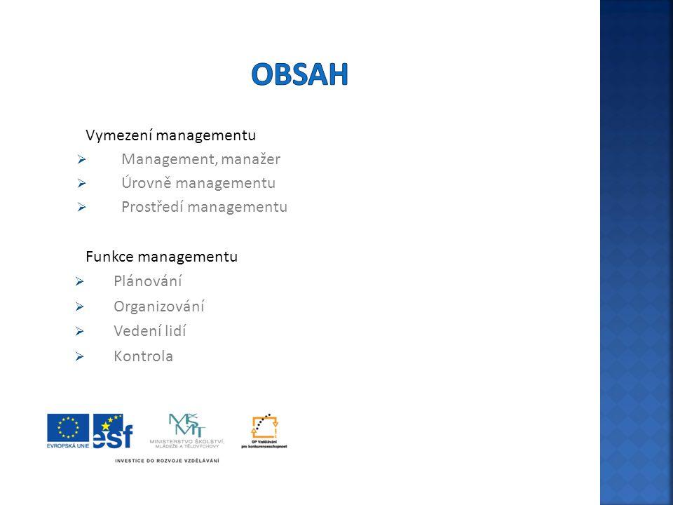 Vymezení managementu  Management, manažer  Úrovně managementu  Prostředí managementu Funkce managementu  Plánování  Organizování  Vedení lidí 