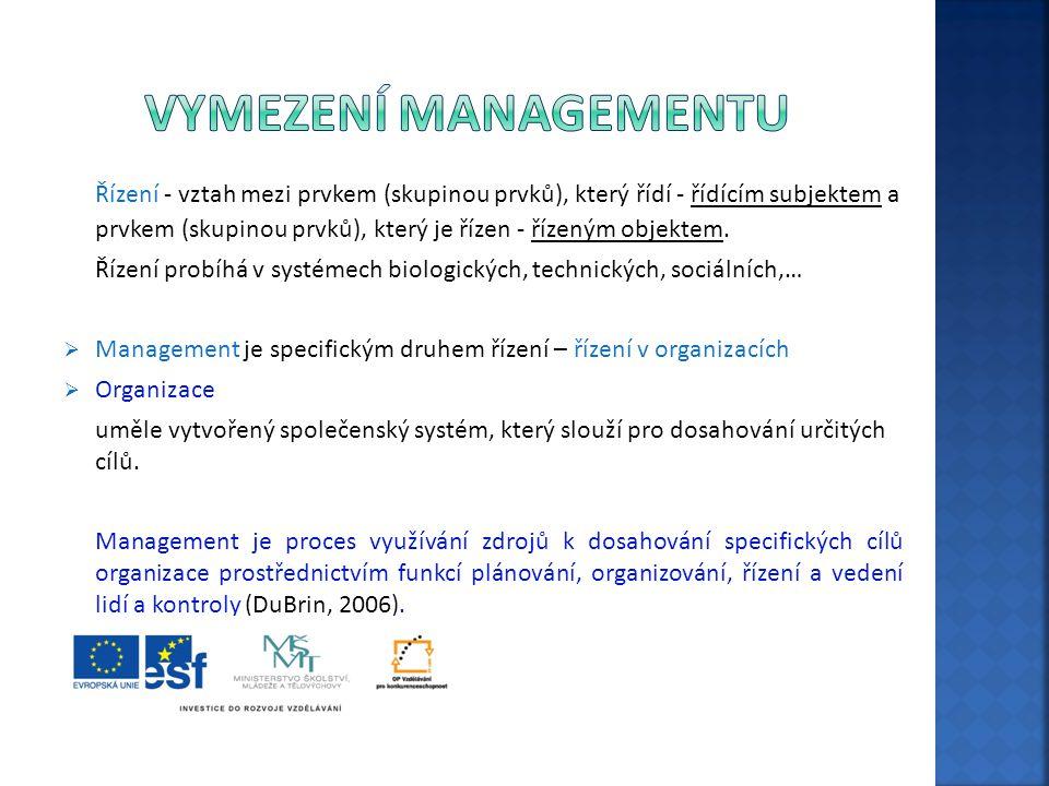 """Existuje velké množství definic - autoři si všímají různých stránek managementu: """"Management je …  …souhrn všech činností, které je třeba vykonat, aby byla zabezpečena funkce organizace (Veber, 2005).  …proces koordinování činností skupiny pracovníků, realizovaný jednotlivcem nebo skupinou lidí za účelem dosažení určitých výsledků, které nelze dosáhnout individuální prací (Donnelly, Gibson, Ivancevich,1997).  …proces tvorby a udržování prostředí, ve kterém jednotlivci pracují společně ve skupinách a účinně dosahují vybraných cílů (Koontz, Weihrich, 1993)."""