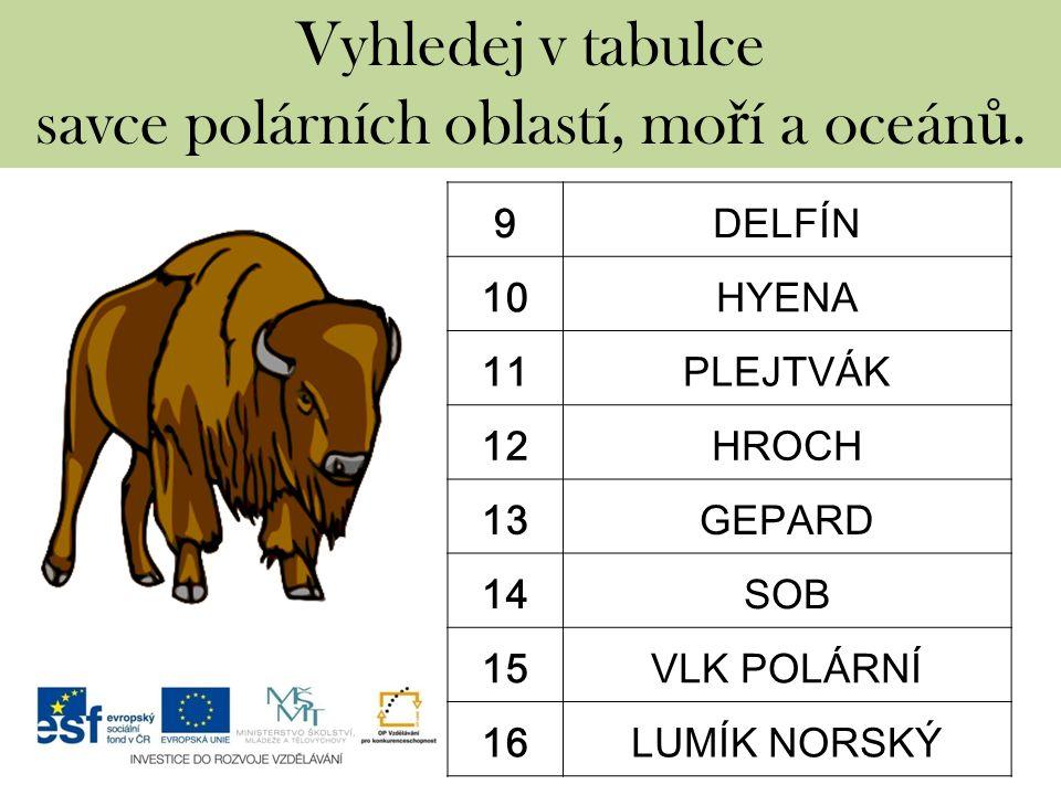 Vyhledej v tabulce savce polárních oblastí, mo ř í a oceán ů.
