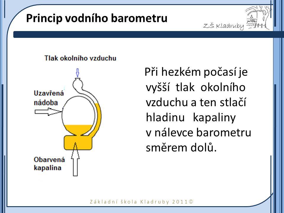 Základní škola Kladruby 2011  Princip vodního barometru Při hezkém počasí je vyšší tlak okolního vzduchu a ten stlačí hladinu kapaliny v nálevce baro