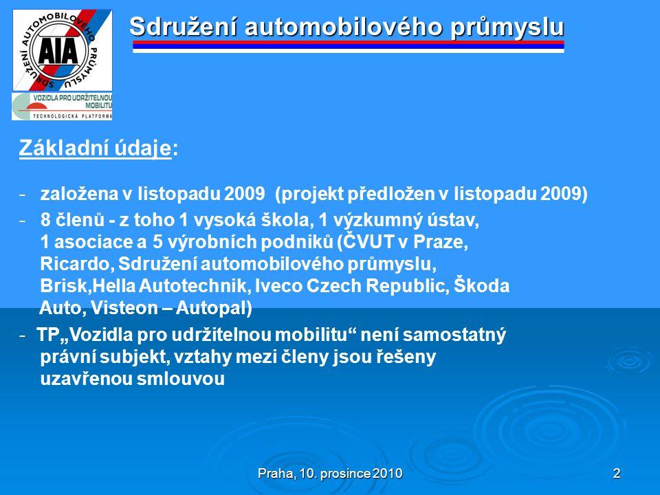 Praha, 10. prosince 2010 2 Sdružení automobilového průmyslu Základní údaje: - založena v listopadu 2009 (projekt předložen v listopadu 2009) - 8 členů