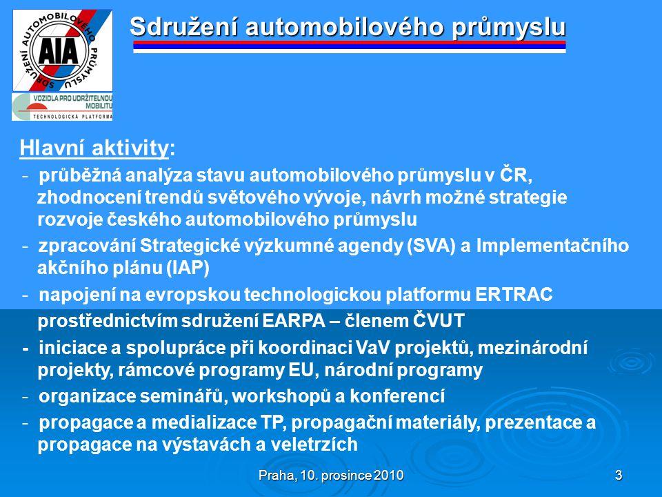 Praha, 10. prosince 2010 3 Sdružení automobilového průmyslu Hlavní aktivity: - průběžná analýza stavu automobilového průmyslu v ČR, zhodnocení trendů