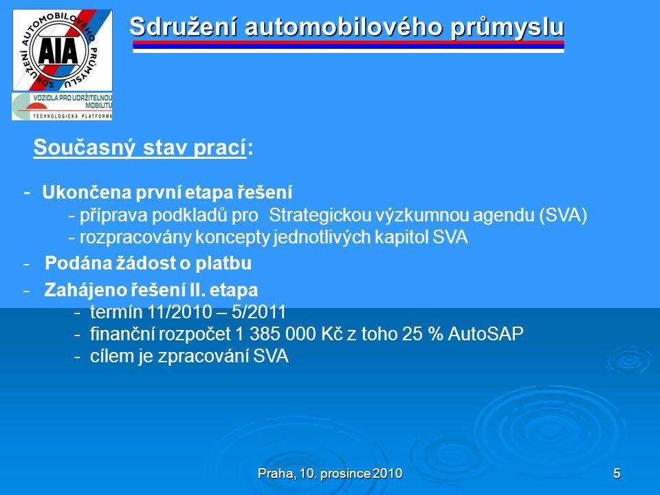 Praha, 10. prosince 2010 5 Sdružení automobilového průmyslu Současný stav prací: - Ukončena první etapa řešení - příprava podkladů pro Strategickou vý