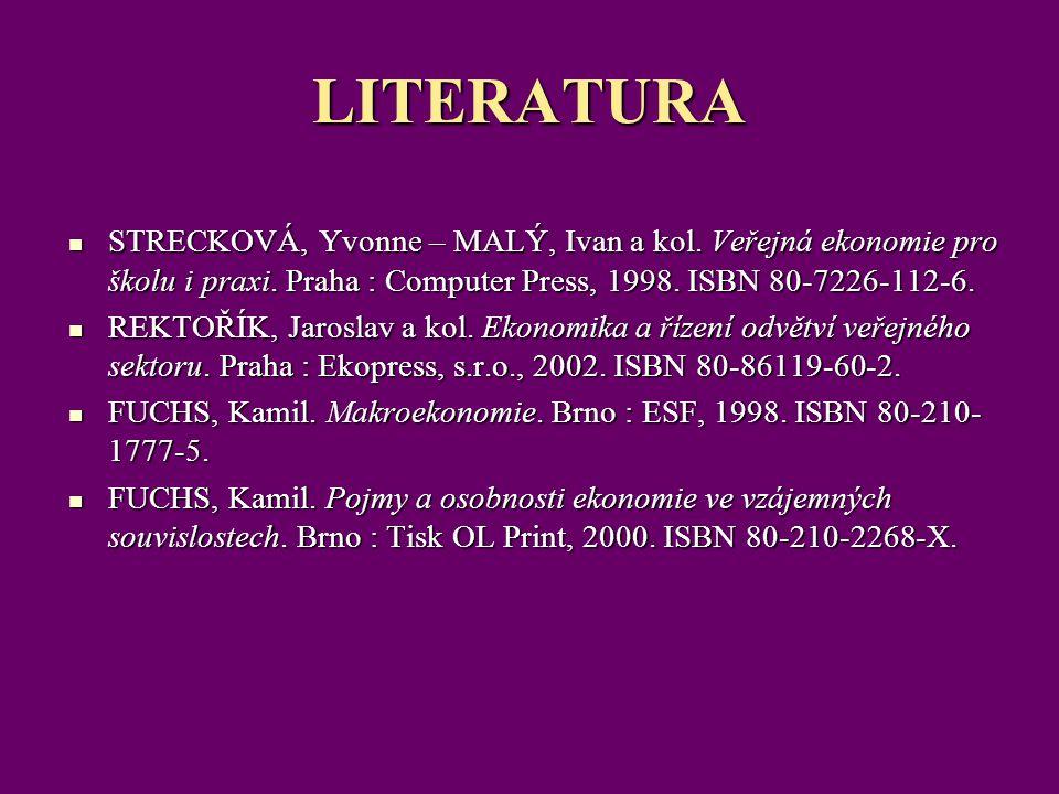 LITERATURA STRECKOVÁ, Yvonne – MALÝ, Ivan a kol. Veřejná ekonomie pro školu i praxi. Praha : Computer Press, 1998. ISBN 80-7226-112-6. STRECKOVÁ, Yvon