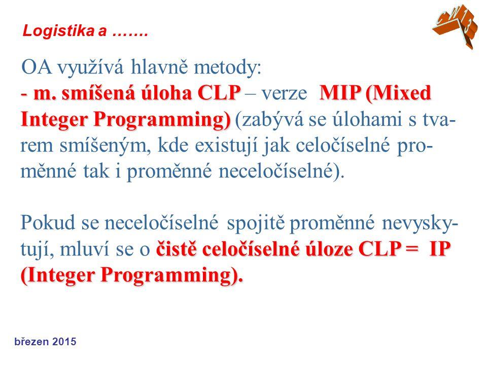 březen 2015 Logistika a ……. OA využívá hlavně metody: - m. smíšená úloha CLP MIP (Mixed Integer Programming) čistě celočíselné úloze CLP = IP (Integer