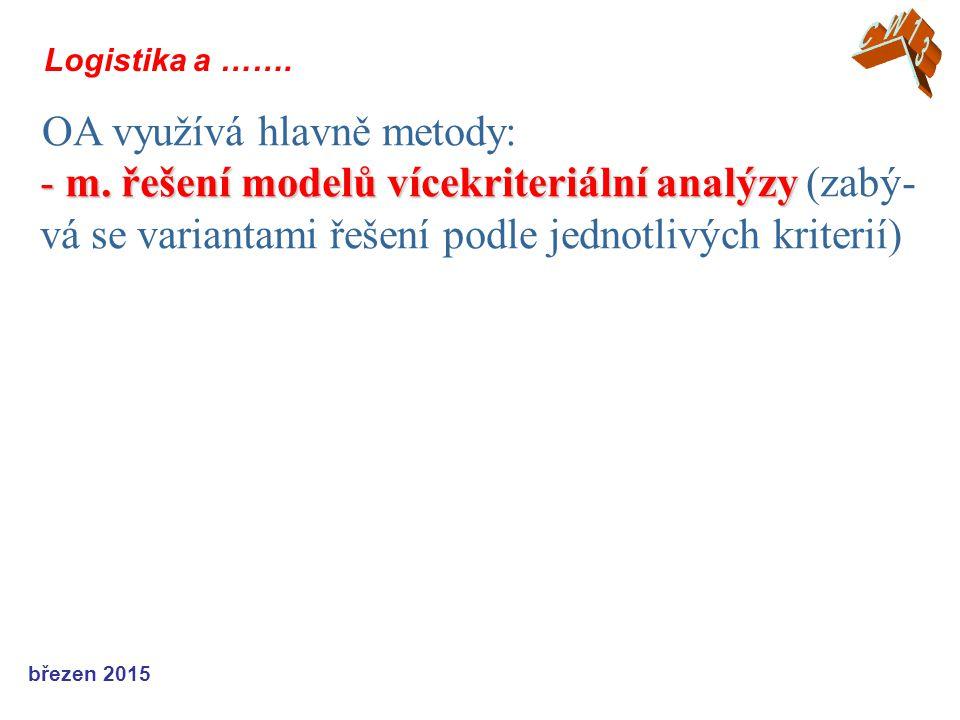 březen 2015 Logistika a ……. OA využívá hlavně metody: - m. řešení modelů vícekriteriální analýzy - m. řešení modelů vícekriteriální analýzy (zabý- vá