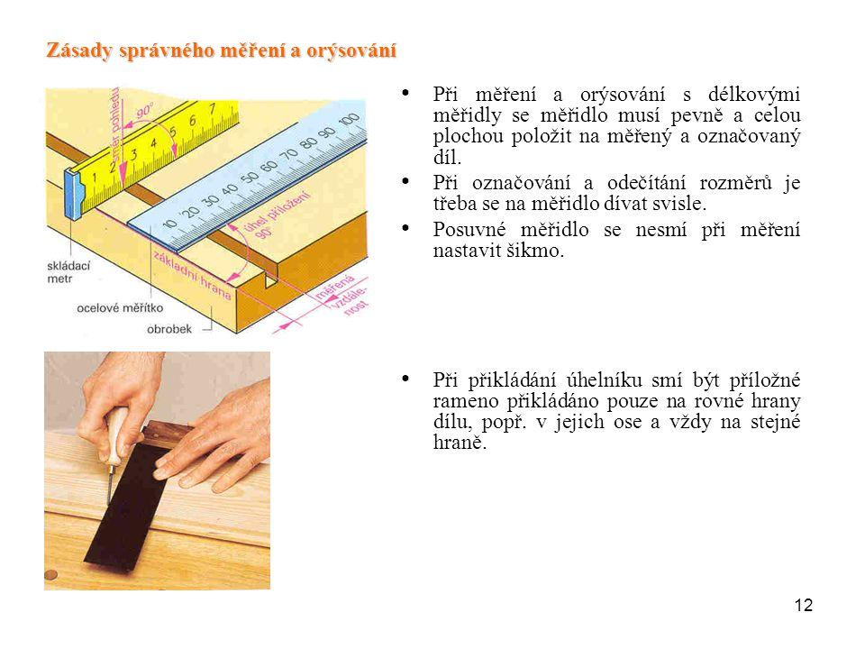 12 Při měření a orýsování s délkovými měřidly se měřidlo musí pevně a celou plochou položit na měřený a označovaný díl. Při označování a odečítání roz