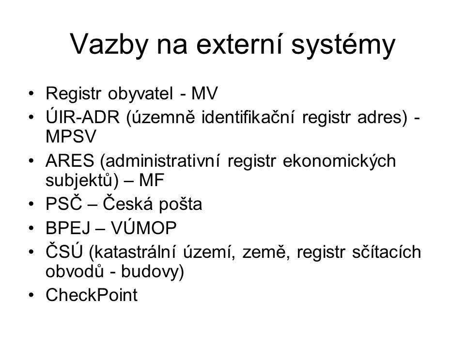 Vazby na externí systémy Registr obyvatel - MV ÚIR-ADR (územně identifikační registr adres) - MPSV ARES (administrativní registr ekonomických subjektů