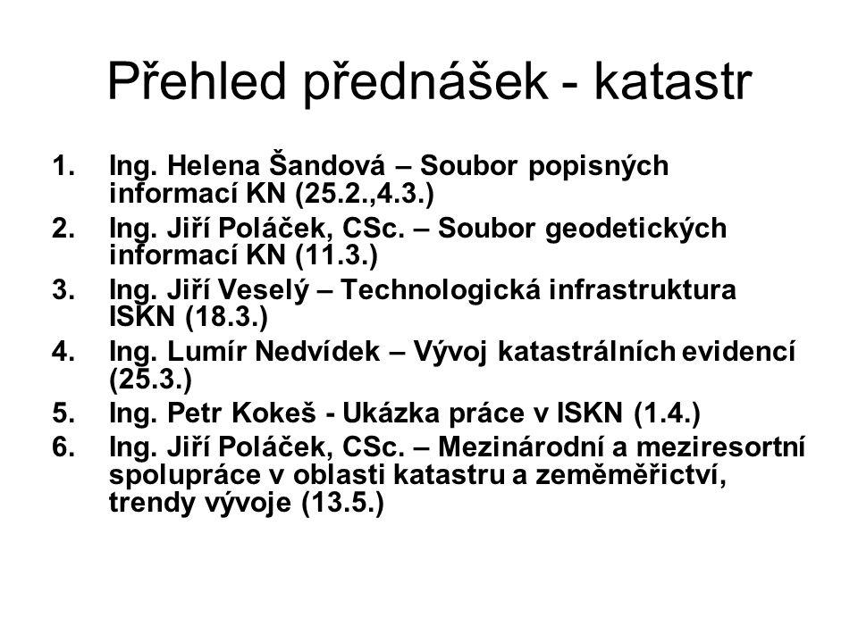 Přehled přednášek - katastr 1.Ing. Helena Šandová – Soubor popisných informací KN (25.2.,4.3.) 2.Ing. Jiří Poláček, CSc. – Soubor geodetických informa