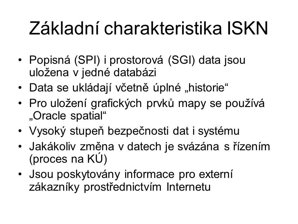 """Základní charakteristika ISKN Popisná (SPI) i prostorová (SGI) data jsou uložena v jedné databázi Data se ukládají včetně úplné """"historie"""" Pro uložení"""