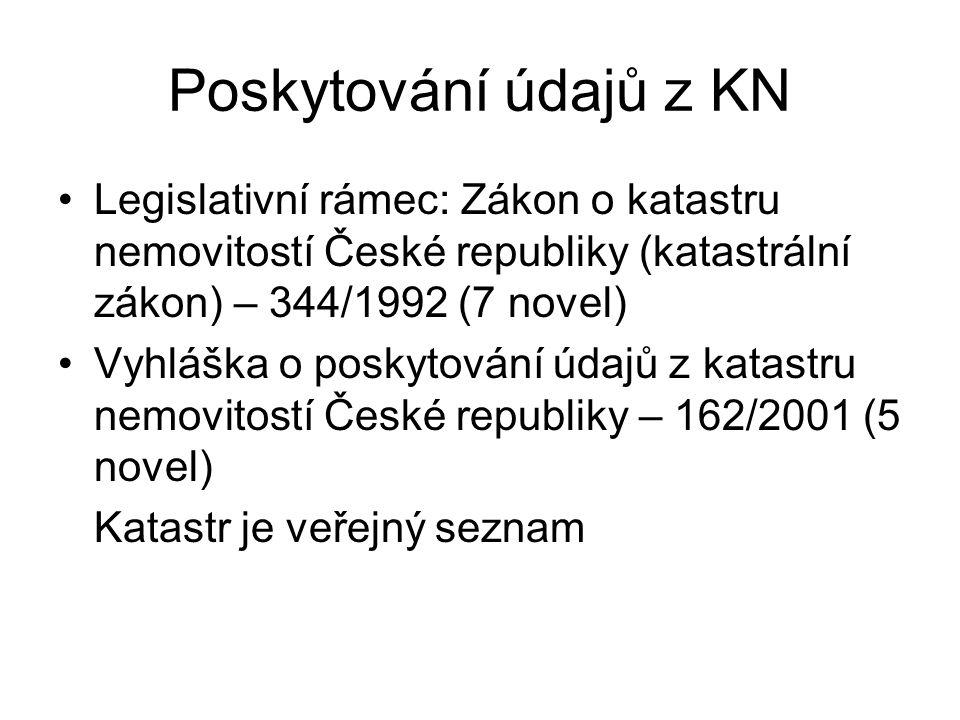 Poskytování údajů z KN Legislativní rámec: Zákon o katastru nemovitostí České republiky (katastrální zákon) – 344/1992 (7 novel) Vyhláška o poskytován