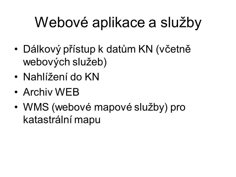 Webové aplikace a služby Dálkový přístup k datům KN (včetně webových služeb) Nahlížení do KN Archiv WEB WMS (webové mapové služby) pro katastrální map