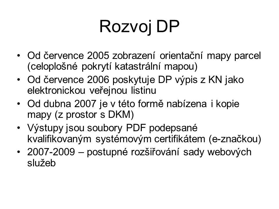 Rozvoj DP Od července 2005 zobrazení orientační mapy parcel (celoplošné pokrytí katastrální mapou) Od července 2006 poskytuje DP výpis z KN jako elekt