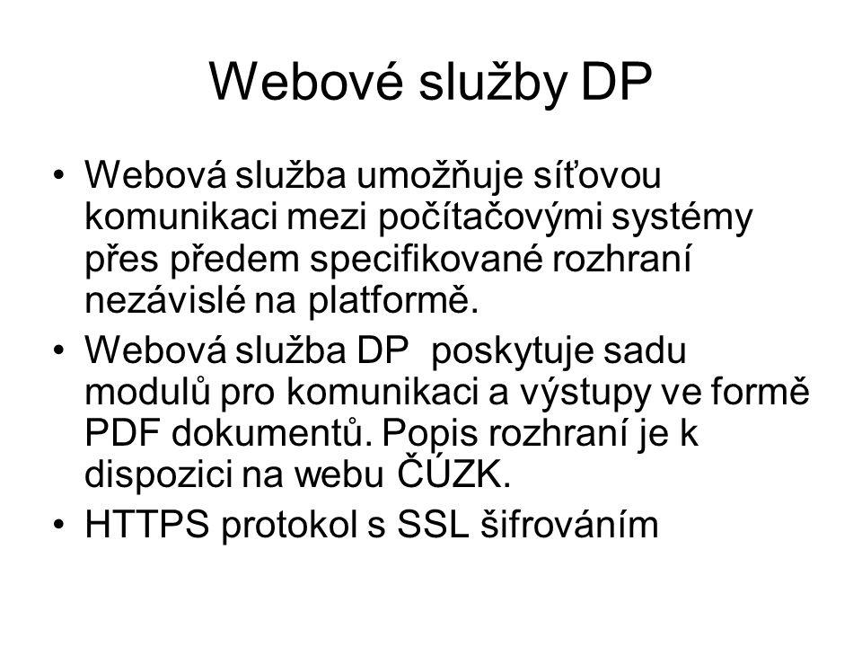 Webové služby DP Webová služba umožňuje síťovou komunikaci mezi počítačovými systémy přes předem specifikované rozhraní nezávislé na platformě. Webová