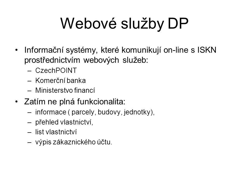 Webové služby DP Informační systémy, které komunikují on-line s ISKN prostřednictvím webových služeb: –CzechPOINT –Komerční banka –Ministerstvo financ