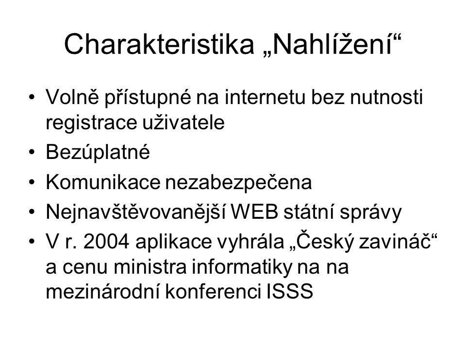 """Charakteristika """"Nahlížení"""" Volně přístupné na internetu bez nutnosti registrace uživatele Bezúplatné Komunikace nezabezpečena Nejnavštěvovanější WEB"""