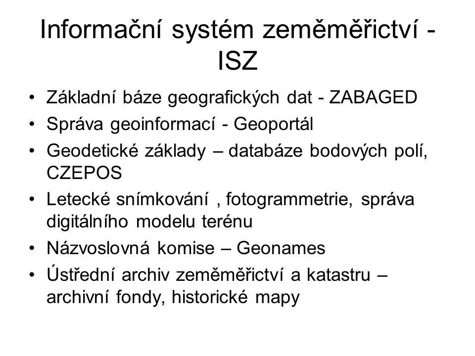 Informační systém zeměměřictví - ISZ Základní báze geografických dat - ZABAGED Správa geoinformací - Geoportál Geodetické základy – databáze bodových