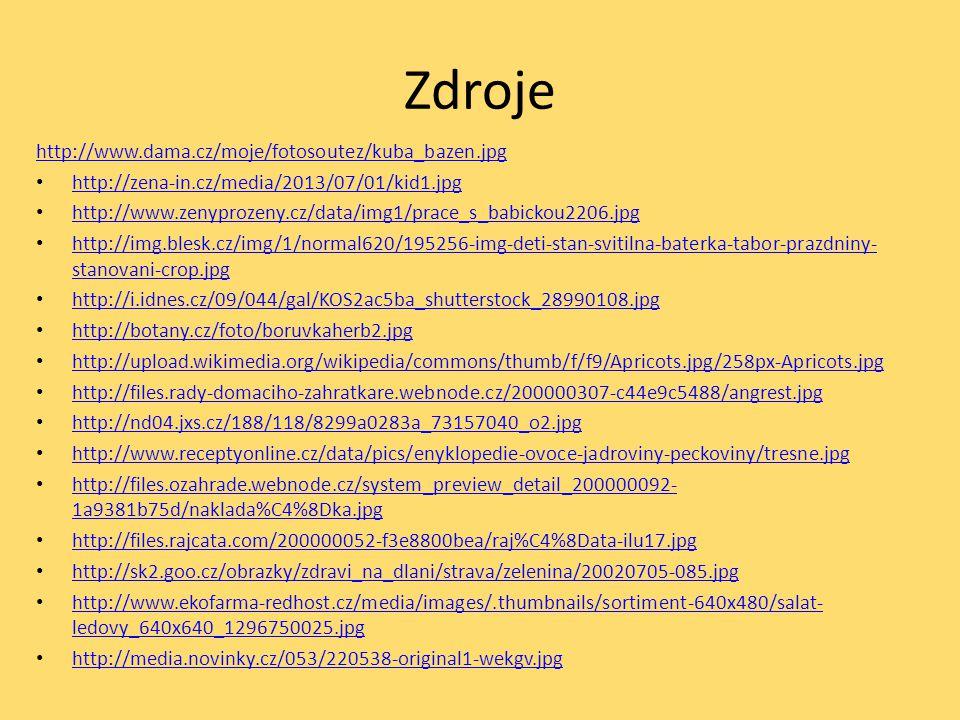 Zdroje http://www.dama.cz/moje/fotosoutez/kuba_bazen.jpg http://zena-in.cz/media/2013/07/01/kid1.jpg http://www.zenyprozeny.cz/data/img1/prace_s_babic