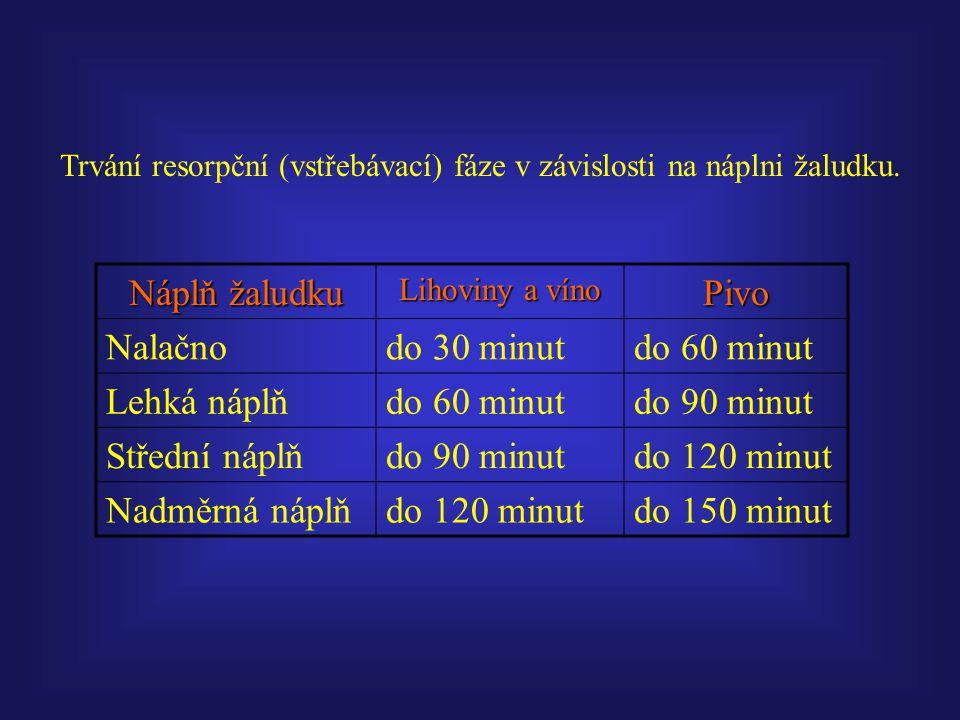 Trvání resorpční (vstřebávací) fáze v závislosti na náplni žaludku. Náplň žaludku Lihoviny a víno Pivo Nalačnodo 30 minutdo 60 minut Lehká náplňdo 60