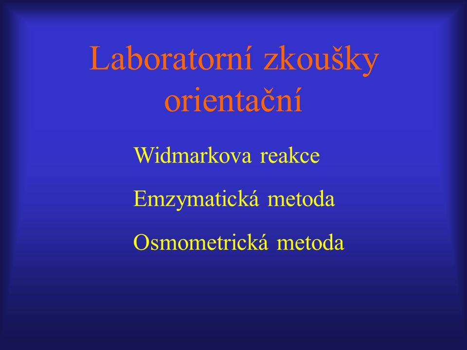Laboratorní zkoušky orientační Widmarkova reakce Emzymatická metoda Osmometrická metoda