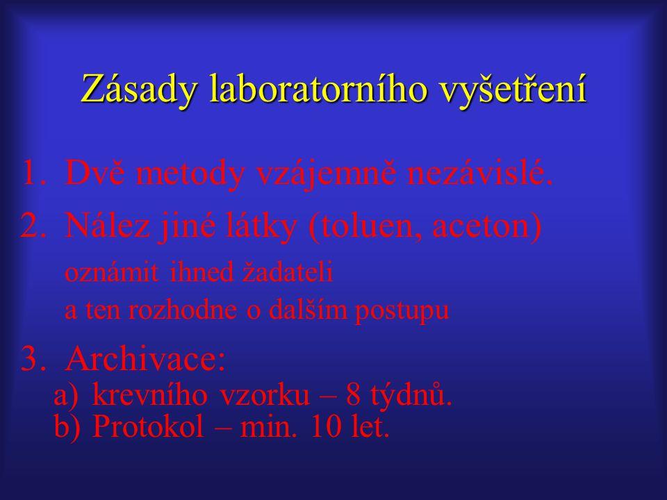 1.Dvě metody vzájemně nezávislé. 2.Nález jiné látky (toluen, aceton) oznámit ihned žadateli a ten rozhodne o dalším postupu 3.Archivace: a)krevního vz