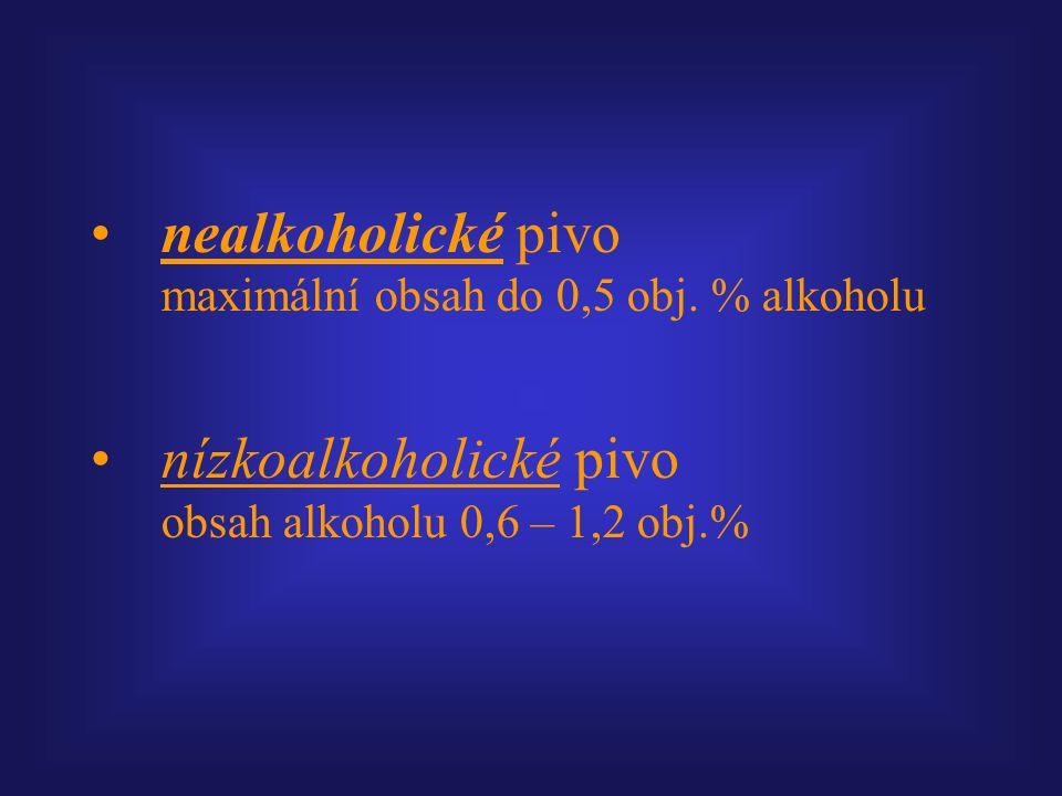 nealkoholické pivo maximální obsah do 0,5 obj. % alkoholu nízkoalkoholické pivo obsah alkoholu 0,6 – 1,2 obj.%