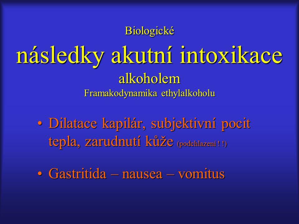 Biologické následky akutní intoxikace alkoholem Framakodynamika ethylalkoholu Dilatace kapilár, subjektivní pocit tepla, zarudnutí kůže (podchlazení !