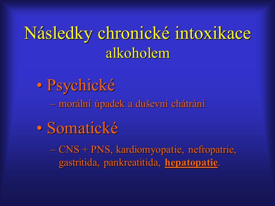 PsychickéPsychické –morální úpadek a duševní chátrání SomatickéSomatické –CNS + PNS, kardiomyopatie, nefropatrie, gastritida, pankreatitida, hepatopat