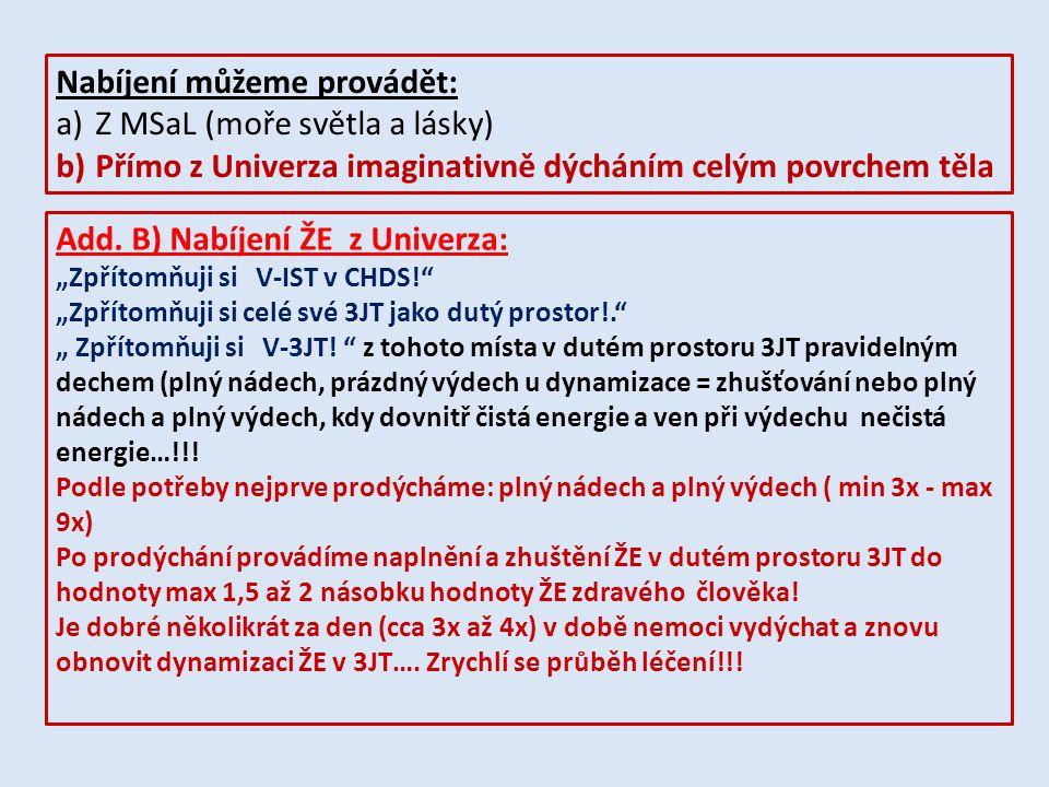 Nabíjení můžeme provádět: a)Z MSaL (moře světla a lásky) b)Přímo z Univerza imaginativně dýcháním celým povrchem těla Add. B) Nabíjení ŽE z Univerza: