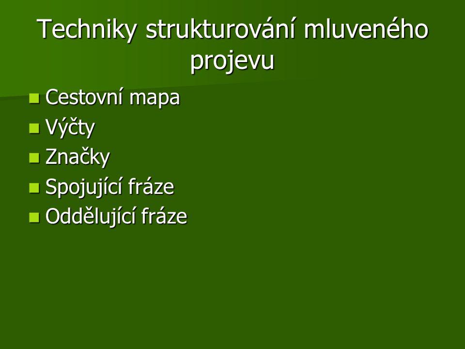 Techniky strukturování mluveného projevu Cestovní mapa Cestovní mapa Výčty Výčty Značky Značky Spojující fráze Spojující fráze Oddělující fráze Oddělu