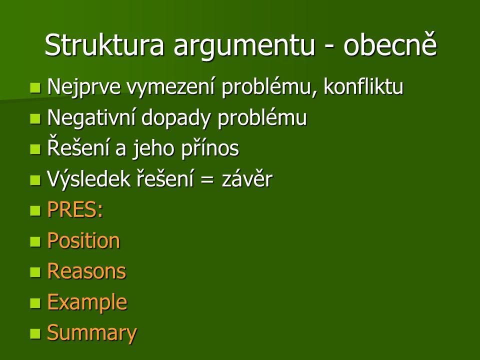 Struktura argumentu - obecně Nejprve vymezení problému, konfliktu Nejprve vymezení problému, konfliktu Negativní dopady problému Negativní dopady prob