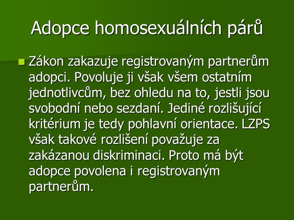 Adopce homosexuálních párů Zákon zakazuje registrovaným partnerům adopci. Povoluje ji však všem ostatním jednotlivcům, bez ohledu na to, jestli jsou s