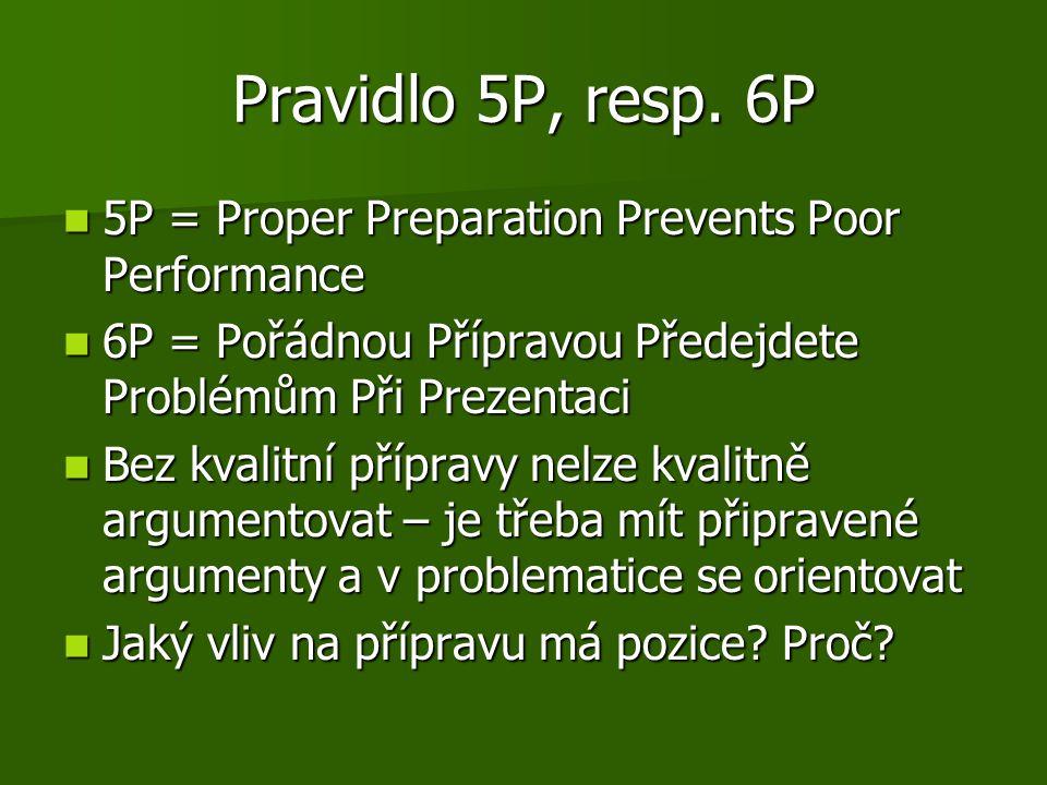 Pravidlo 5P, resp. 6P 5P = Proper Preparation Prevents Poor Performance 5P = Proper Preparation Prevents Poor Performance 6P = Pořádnou Přípravou Před
