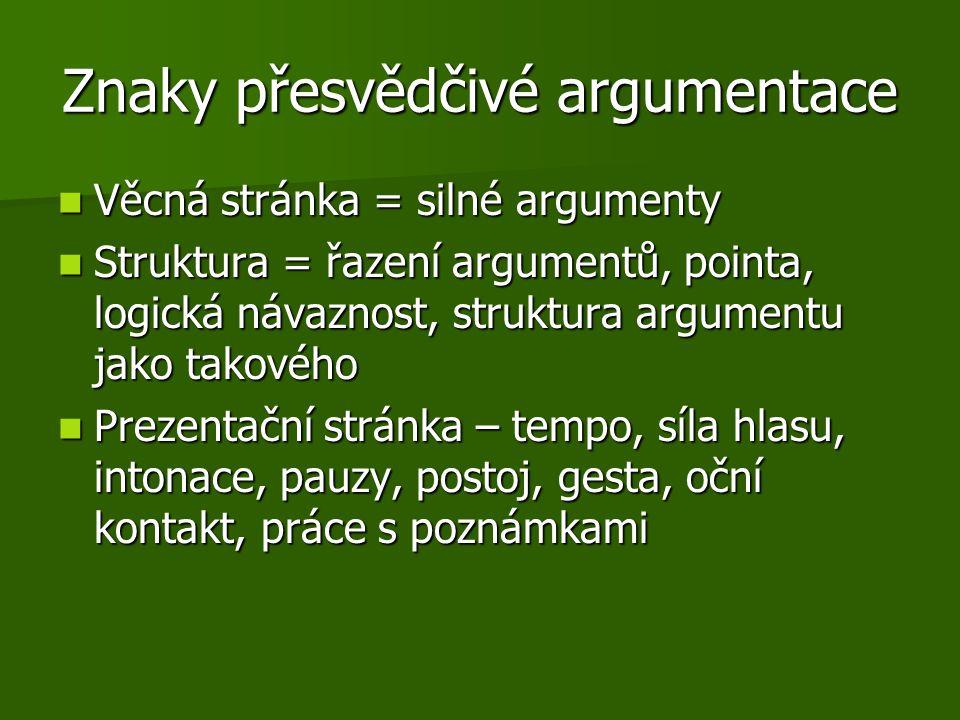 Znaky přesvědčivé argumentace Věcná stránka = silné argumenty Věcná stránka = silné argumenty Struktura = řazení argumentů, pointa, logická návaznost,