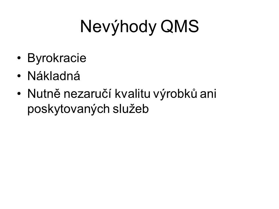 Nevýhody QMS Byrokracie Nákladná Nutně nezaručí kvalitu výrobků ani poskytovaných služeb