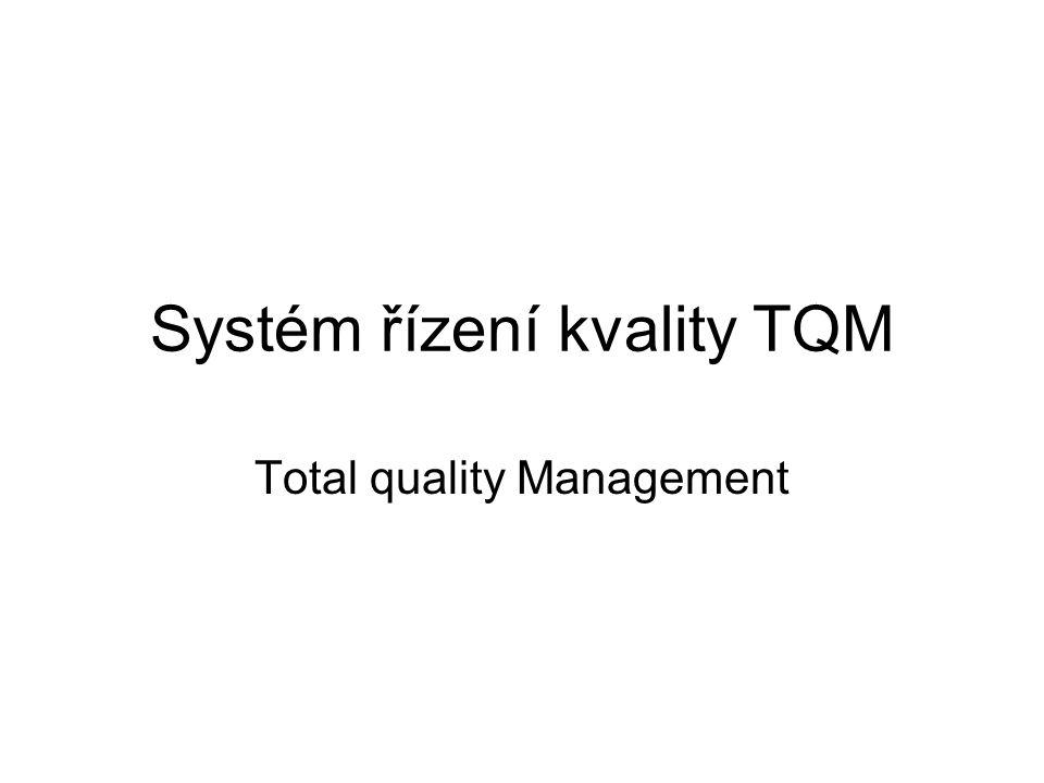 Podnikatelská a manažerská filozofie – založená na prosazování kvality a řídících praktik, které vedou k celkové kvalitě organizace TQM – marketingová koncepce, vztahový marketing – není obecný návod na její získání, může ji získat každý podnik QMS – výrobní, výrobková, prodejní koncepce – transakční marketing Zásady TQM: –Podnik je systém vzájemně propojených lidí –Jakákoliv podniková činnost má vliv na kvalitu –Dodavatelé jsou součástí systému kvality –Na kvalitu se pohlíží z pohledu zákazníka a spotřebitelů