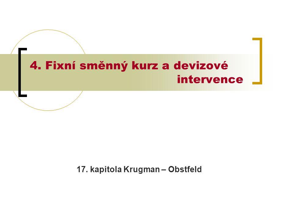 4. Fixní směnný kurz a devizové intervence 17. kapitola Krugman – Obstfeld