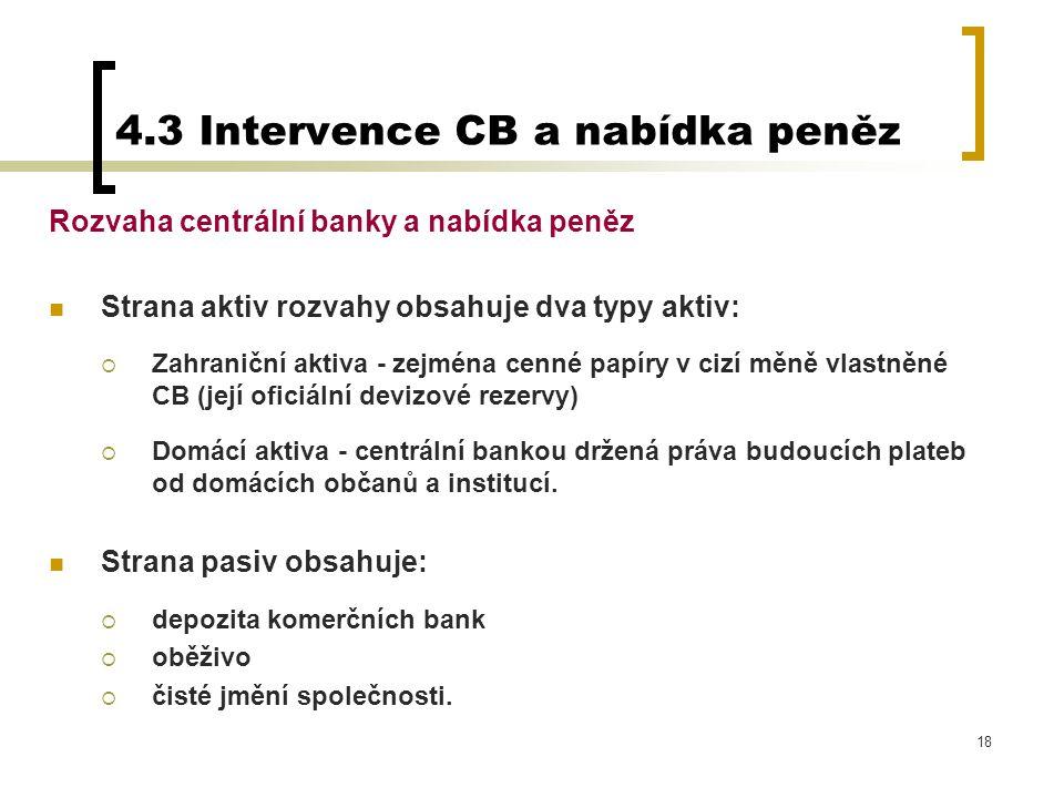 18 Rozvaha centrální banky a nabídka peněz Strana aktiv rozvahy obsahuje dva typy aktiv:  Zahraniční aktiva - zejména cenné papíry v cizí měně vlastn