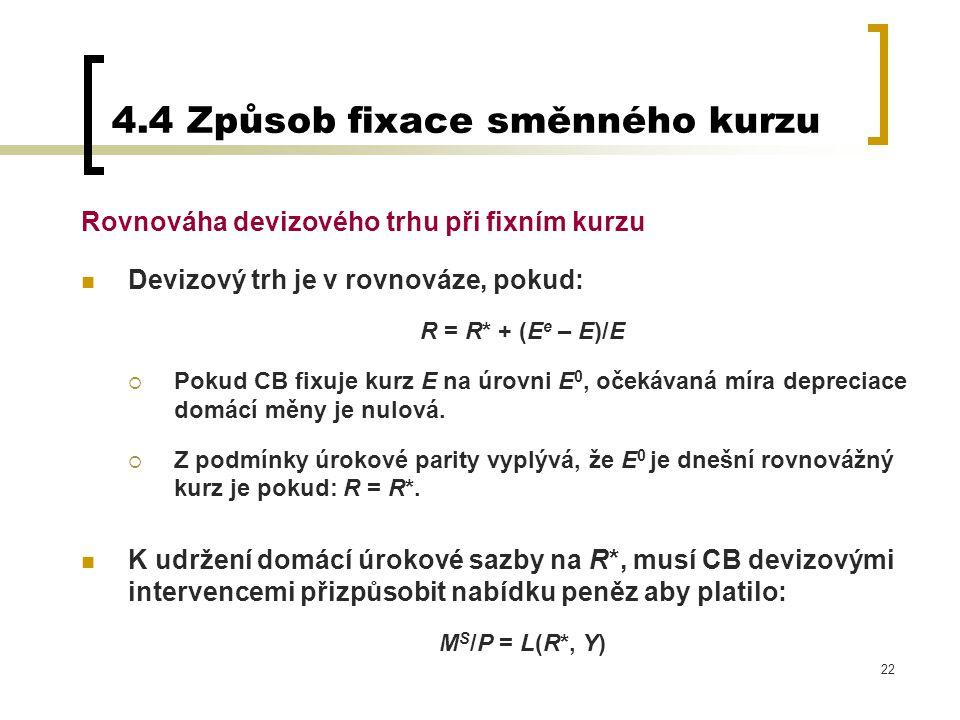 22 4.4 Způsob fixace směnného kurzu Rovnováha devizového trhu při fixním kurzu Devizový trh je v rovnováze, pokud: R = R* + (E e – E)/E  Pokud CB fix