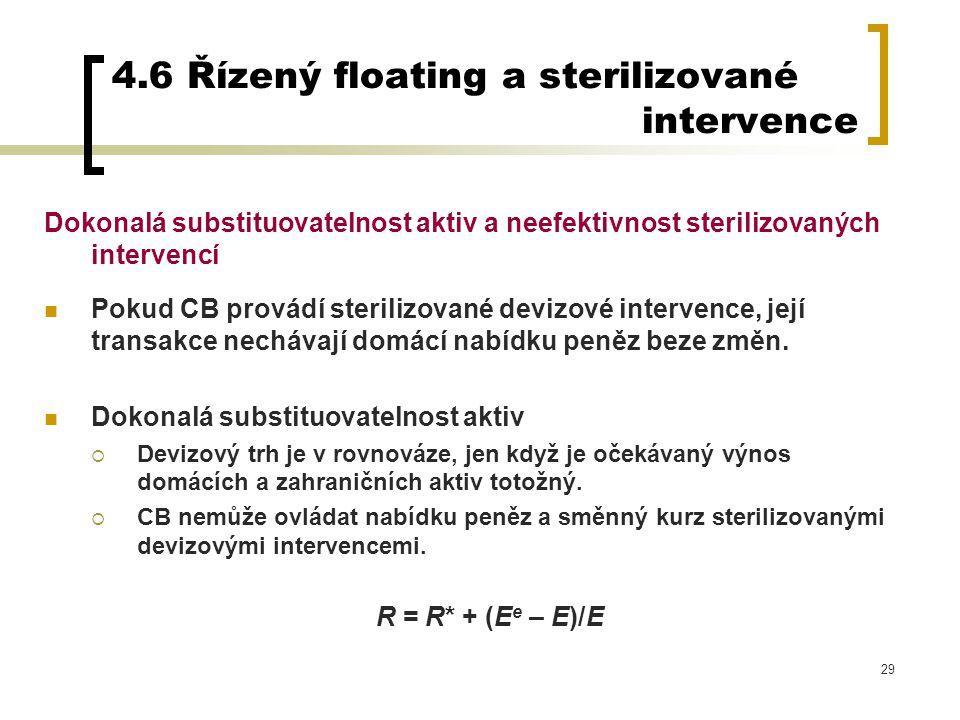 29 4.6 Řízený floating a sterilizované intervence Dokonalá substituovatelnost aktiv a neefektivnost sterilizovaných intervencí Pokud CB provádí steril