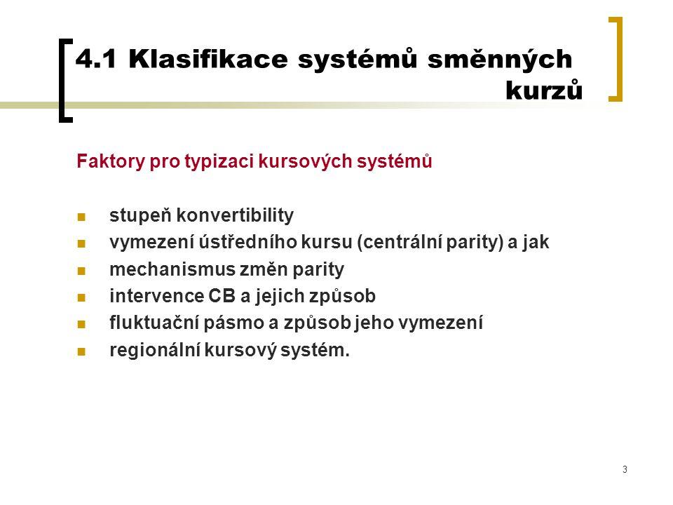 3 4.1 Klasifikace systémů směnných kurzů Faktory pro typizaci kursových systémů stupeň konvertibility vymezení ústředního kursu (centrální parity) a j