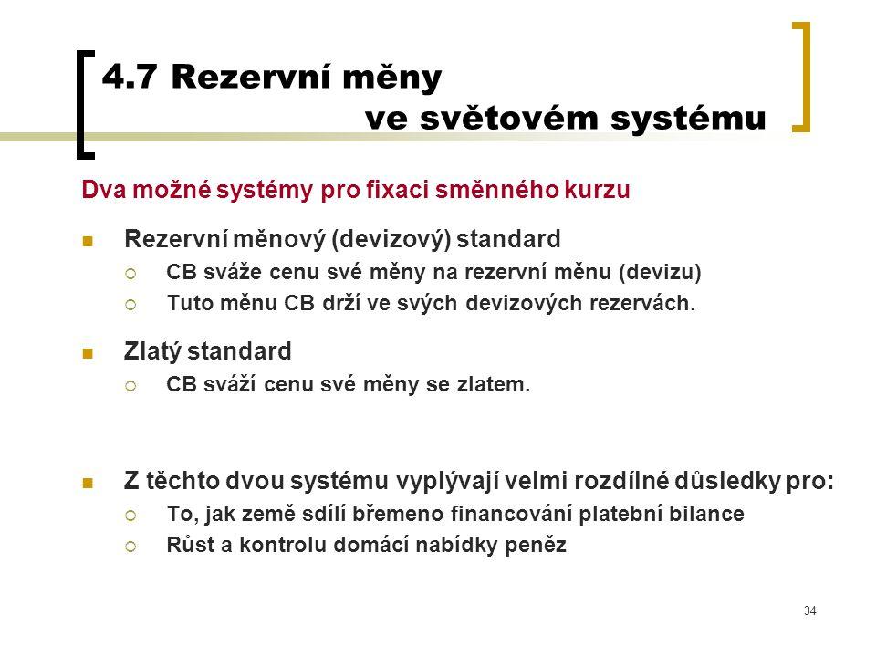 34 4.7 Rezervní měny ve světovém systému Dva možné systémy pro fixaci směnného kurzu Rezervní měnový (devizový) standard  CB sváže cenu své měny na r