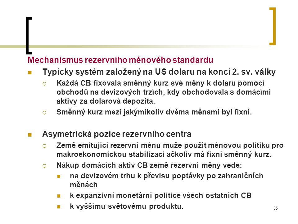 35 Mechanismus rezervního měnového standardu Typicky systém založený na US dolaru na konci 2. sv. války  Každá CB fixovala směnný kurz své měny k dol