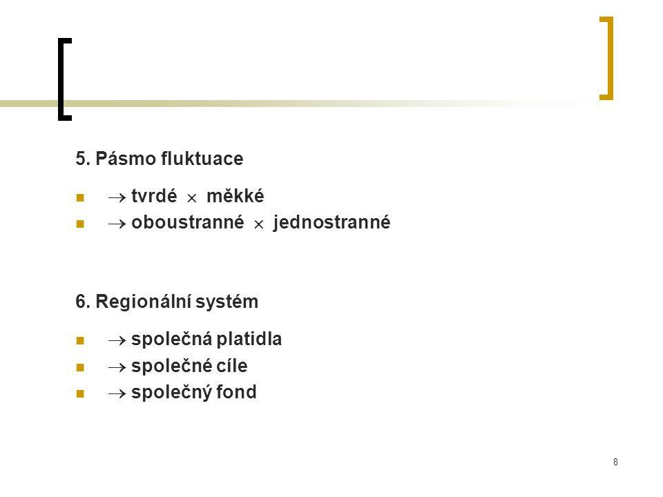 8 5. Pásmo fluktuace  tvrdé  měkké  oboustranné  jednostranné 6. Regionální systém  společná platidla  společné cíle  společný fond