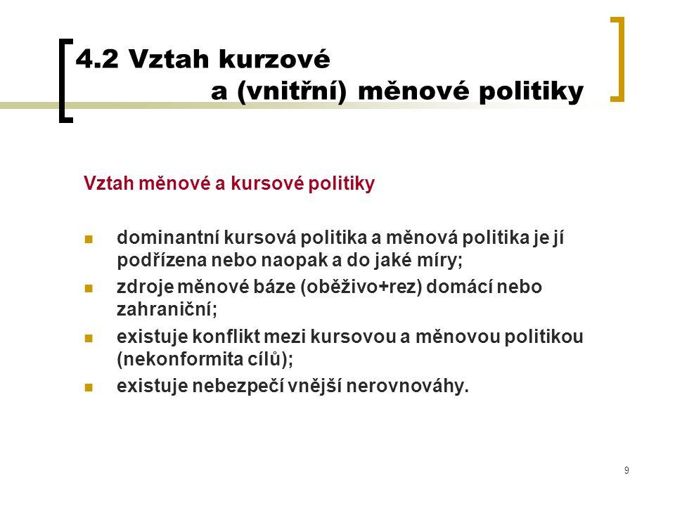 9 4.2 Vztah kurzové a (vnitřní) měnové politiky Vztah měnové a kursové politiky dominantní kursová politika a měnová politika je jí podřízena nebo nao