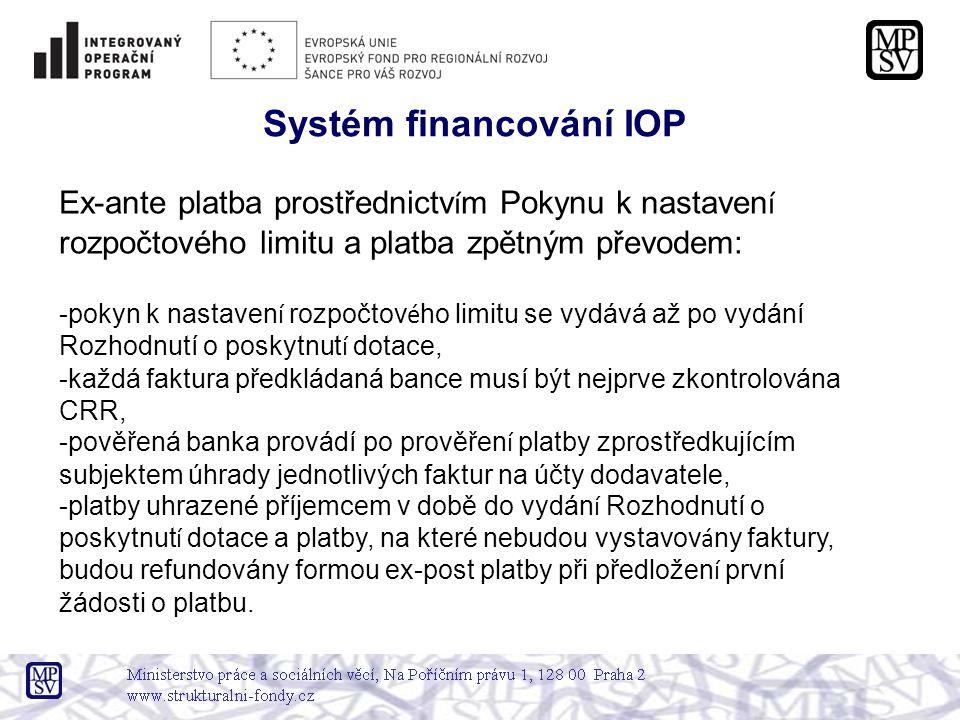 Systém financování IOP Ex-ante platba prostřednictv í m Pokynu k nastaven í rozpočtového limitu a platba zpětným převodem: -pokyn k nastaven í rozpočtov é ho limitu se vydává až po vydání Rozhodnutí o poskytnut í dotace, -každá faktura předkládaná bance musí být nejprve zkontrolována CRR, -pověřená banka provádí po prověřen í platby zprostředkujícím subjektem úhrady jednotlivých faktur na účty dodavatele, -platby uhrazené příjemcem v době do vydán í Rozhodnutí o poskytnut í dotace a platby, na které nebudou vystavov á ny faktury, budou refundovány formou ex-post platby při předložen í první žádosti o platbu.