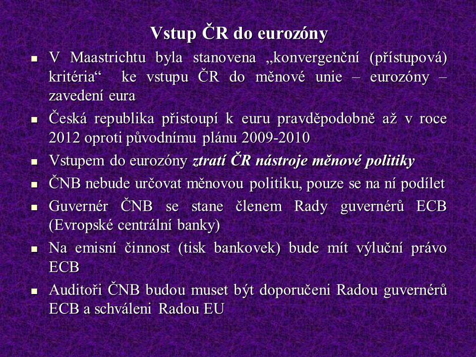 """Vstup ČR do eurozóny V Maastrichtu byla stanovena """"konvergenční (přístupová) kritéria ke vstupu ČR do měnové unie – eurozóny – zavedení eura V Maastrichtu byla stanovena """"konvergenční (přístupová) kritéria ke vstupu ČR do měnové unie – eurozóny – zavedení eura Česká republika přistoupí k euru pravděpodobně až v roce 2012 oproti původnímu plánu 2009-2010 Česká republika přistoupí k euru pravděpodobně až v roce 2012 oproti původnímu plánu 2009-2010 Vstupem do eurozóny ztratí ČR nástroje měnové politiky Vstupem do eurozóny ztratí ČR nástroje měnové politiky ČNB nebude určovat měnovou politiku, pouze se na ní podílet ČNB nebude určovat měnovou politiku, pouze se na ní podílet Guvernér ČNB se stane členem Rady guvernérů ECB (Evropské centrální banky) Guvernér ČNB se stane členem Rady guvernérů ECB (Evropské centrální banky) Na emisní činnost (tisk bankovek) bude mít výluční právo ECB Na emisní činnost (tisk bankovek) bude mít výluční právo ECB Auditoři ČNB budou muset být doporučeni Radou guvernérů ECB a schváleni Radou EU Auditoři ČNB budou muset být doporučeni Radou guvernérů ECB a schváleni Radou EU"""