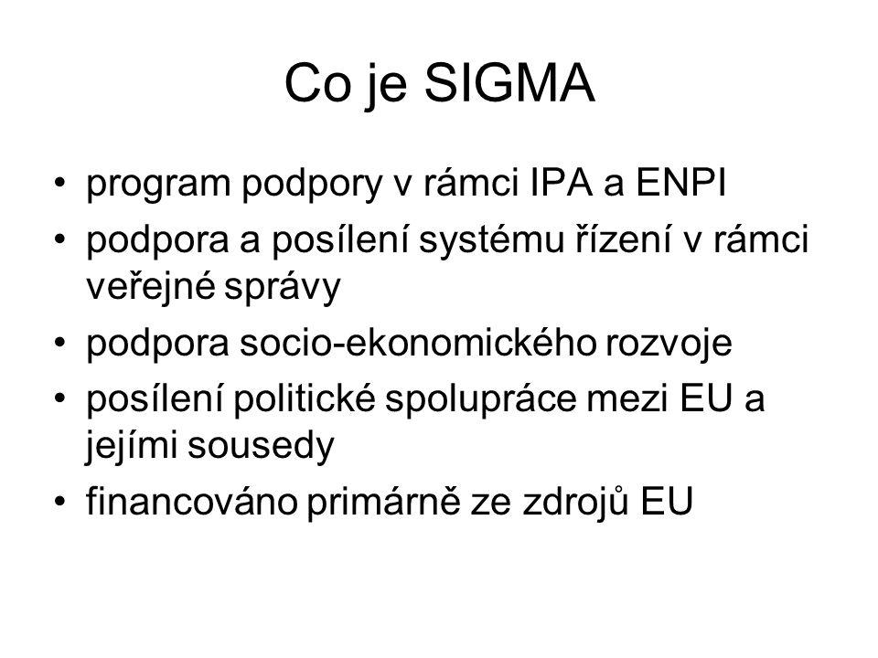 Oblasti intervence SIGMA Nastavení rámců a řízení v rámci veřejné správy Tvorba politik Veřejné finance a audit Zadávání veřejných zakázek Strategie a reformy Řízení lidských zdrojů Ne sektorové, ale horizontální zaměření