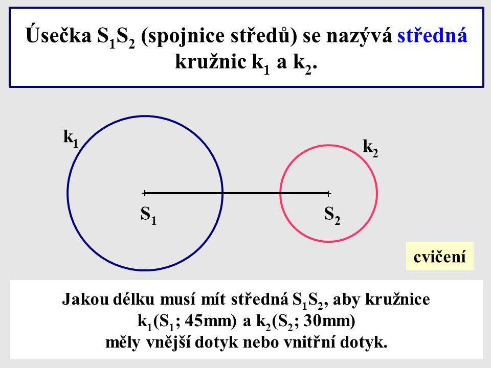 Zde můžeme sledovat, jak se měmí středná a společné body při změně polohy kružnic. SLEDU J